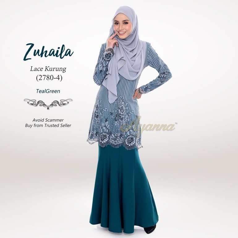 Zuhaila Lace Kurung 2780-4 (TealGreen)