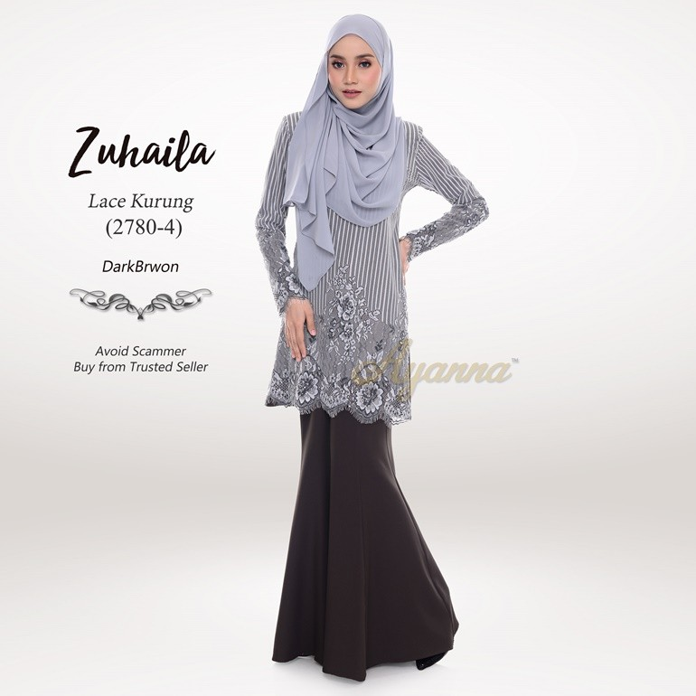 Zuhaila Lace Kurung 2780-4 (DarkBrown)