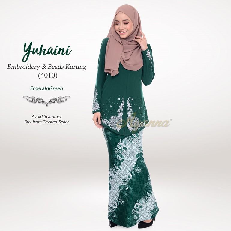 Yuhaini Embroidery & Beads Kurung 4010 (EmeraldGreen)
