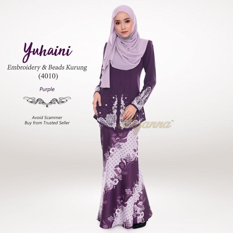 Yuhaini Embroidery & Beads Kurung 4010 (Purple)