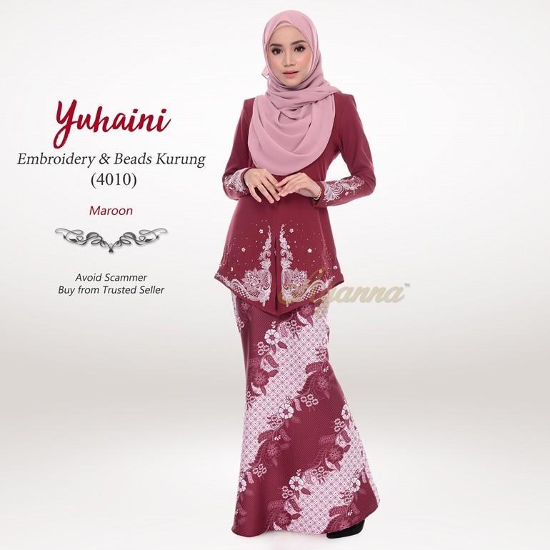 Yuhaini Embroidery & Beads Kurung 4010 (Maroon)
