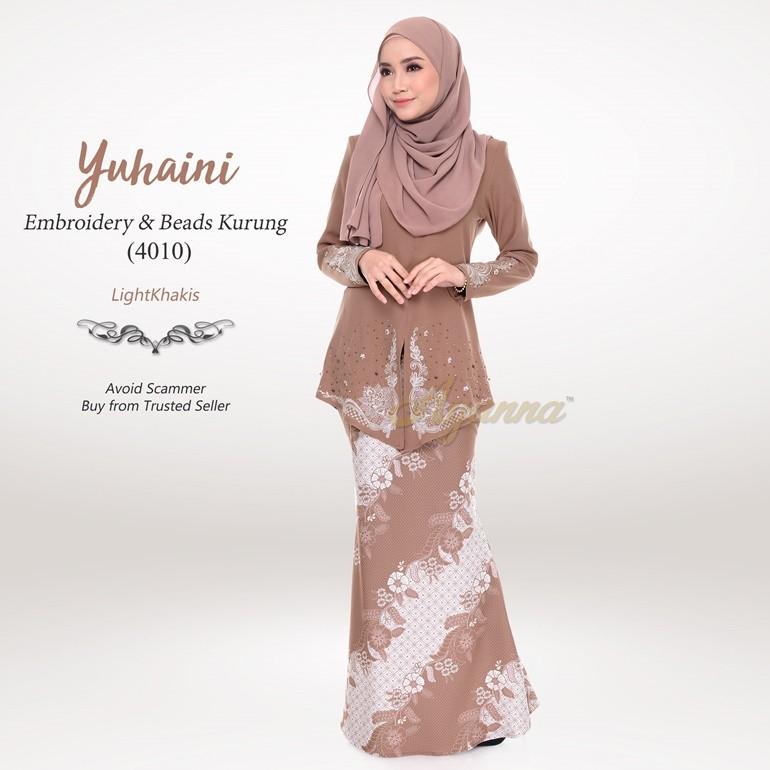 Yuhaini Embroidery & Beads Kurung 4010 (LightKhakis)