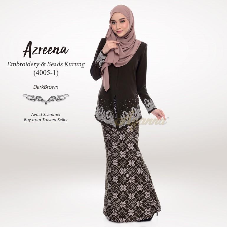Azreena Embroidery & Beads Kurung 4005-1 (DarkBrown)