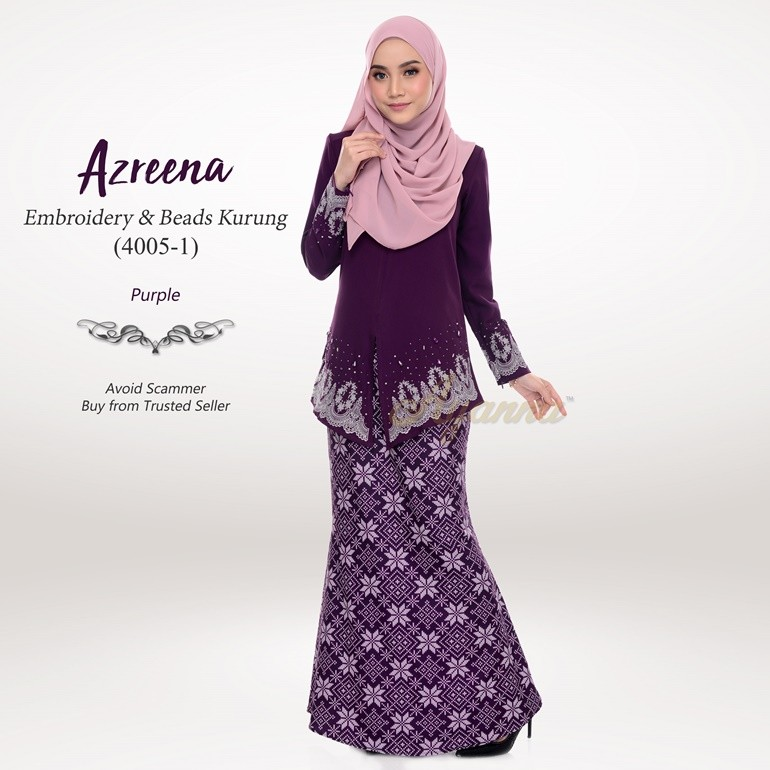 Azreena Embroidery & Beads Kurung 4005-1 (Purple)