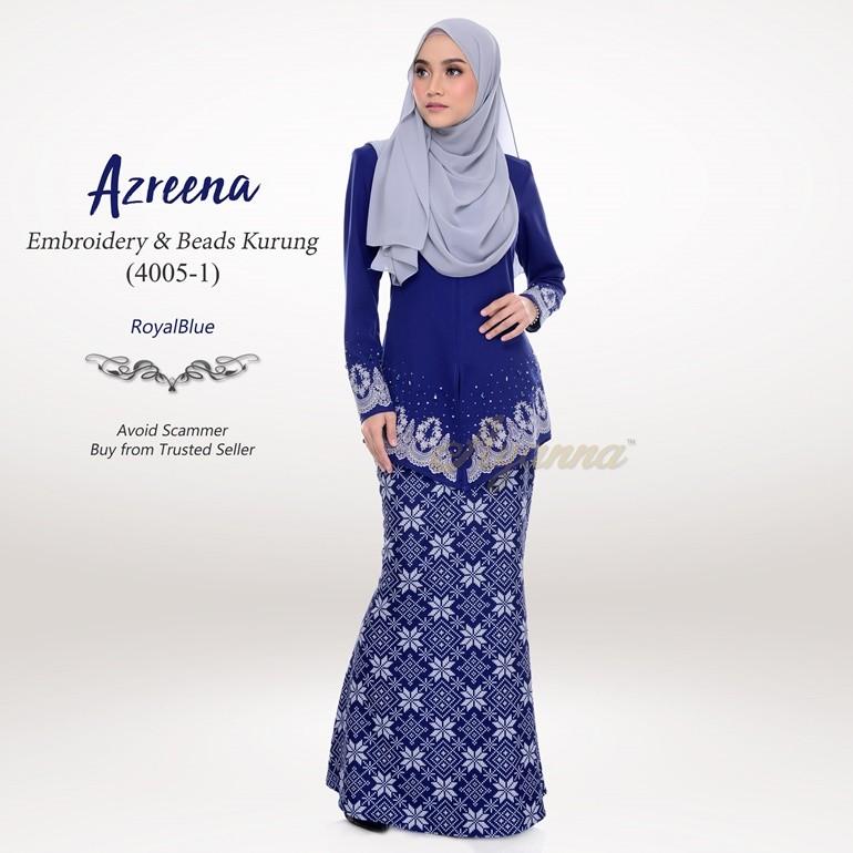 Azreena Embroidery & Beads Kurung 4005-1 (RoyalBlue)