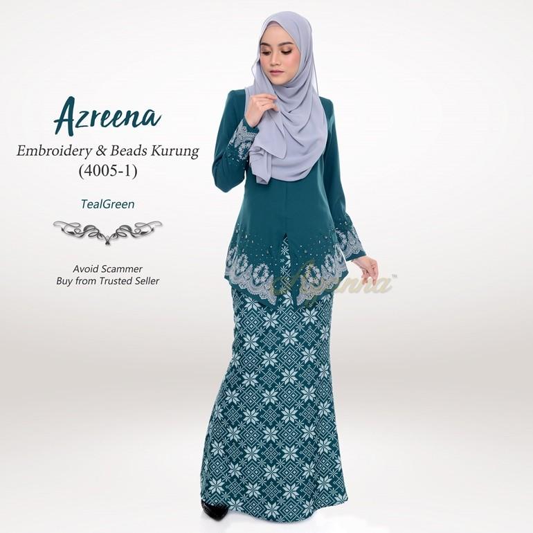 Azreena Embroidery & Beads Kurung 4005-1 (TealGreen)