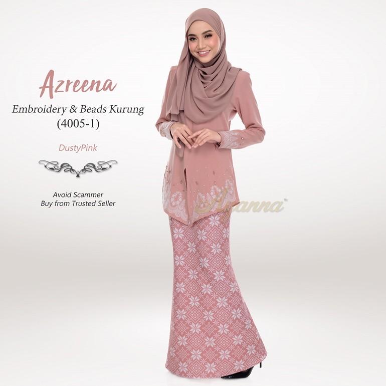 Azreena Embroidery & Beads Kurung 4005-1 (DustyPink)