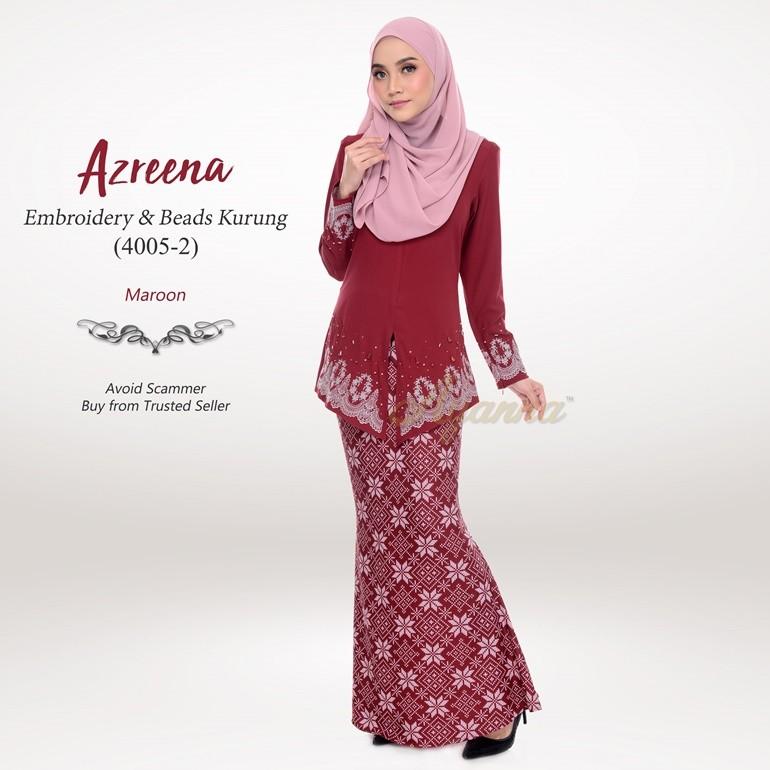 Azreena Embroidery & Beads Kurung 4005-2 (Maroon)