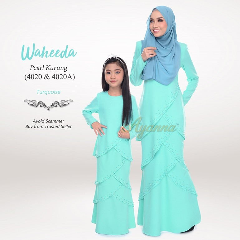 Waheeda Pearl Kurung 4020 Turquoise
