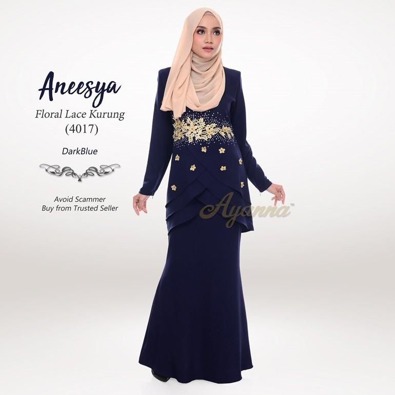Aneesya Floral Lace Kurung 4017 (DarkBlue)