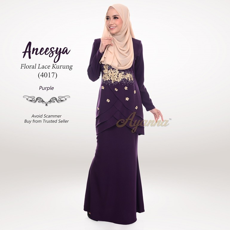 Aneesya Floral Lace Kurung 4017 (Purple)