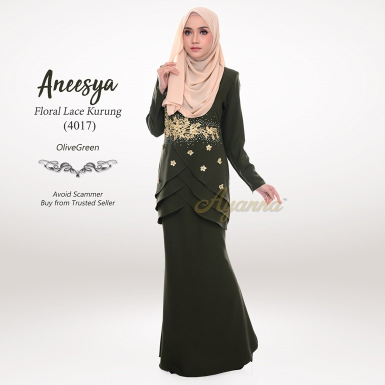 Aneesya Floral Lace Kurung 4017 (OliveGreen)