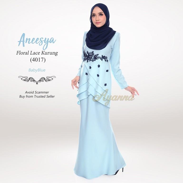 Aneesya Floral Lace Kurung 4017 (BabyBlue)