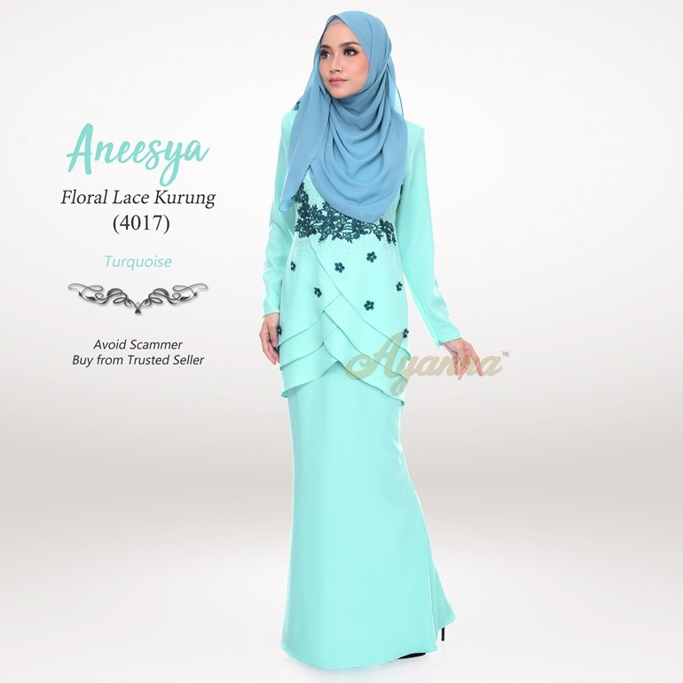 Aneesya Floral Lace Kurung 4017 (Turquoise)