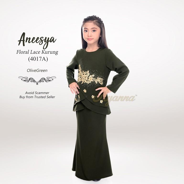 Aneesya Floral Lace Kurung 4017A (OliveGreen)