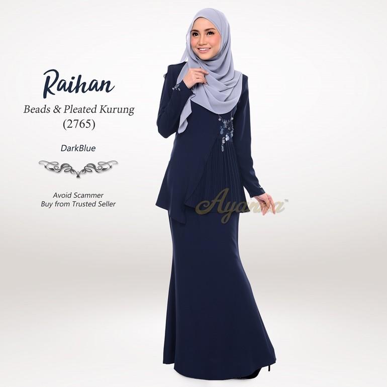 Raihan Beads & Pleated Kurung 2765 (DarkBlue)