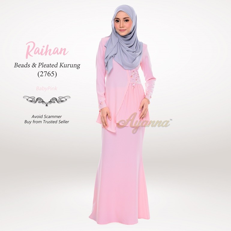 Raihan Beads & Pleated Kurung 2765 (BabyPink)