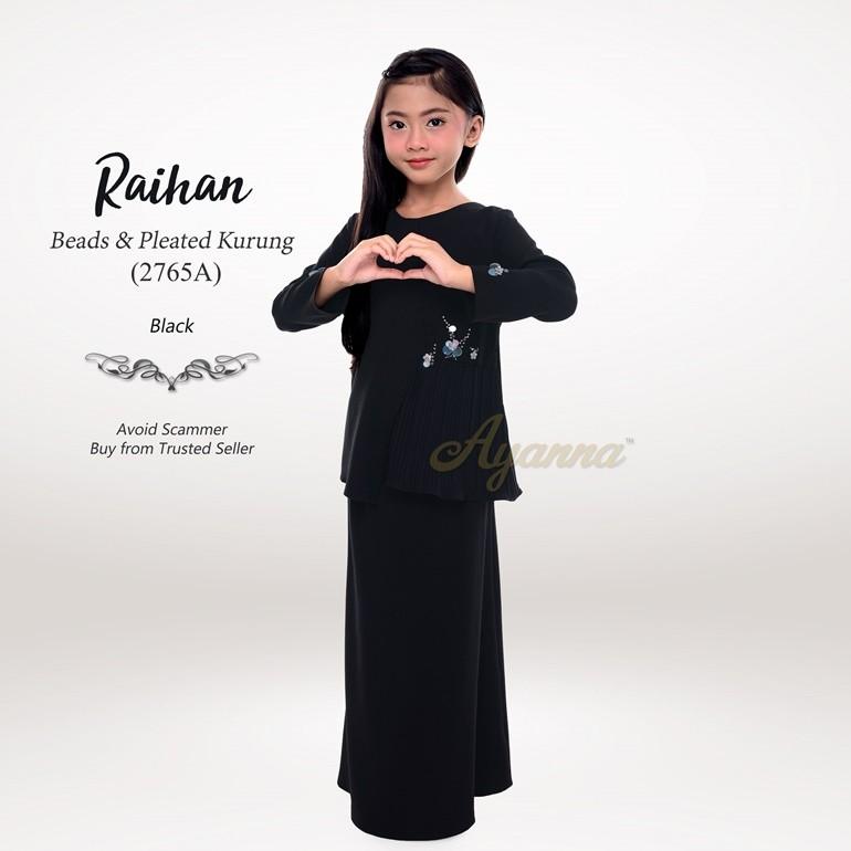 Raihan Beads & Pleated Kurung 2765A (Black)