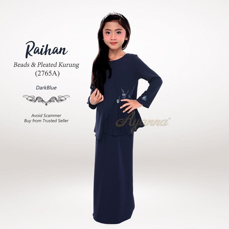 Raihan Beads & Pleated Kurung 2765A (DarkBlue)