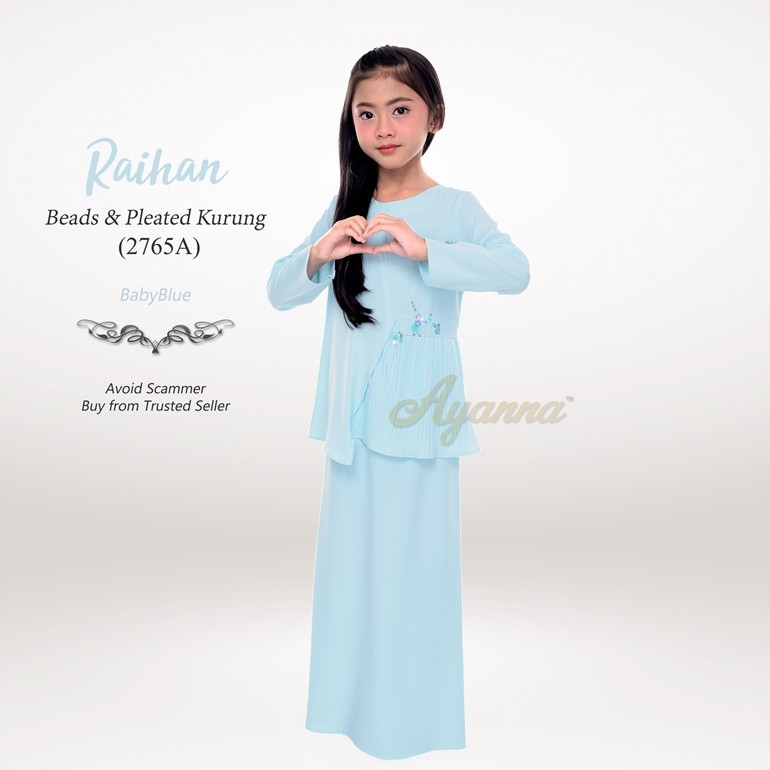 Raihan Beads & Pleated Kurung 2765A (BabyBlue)