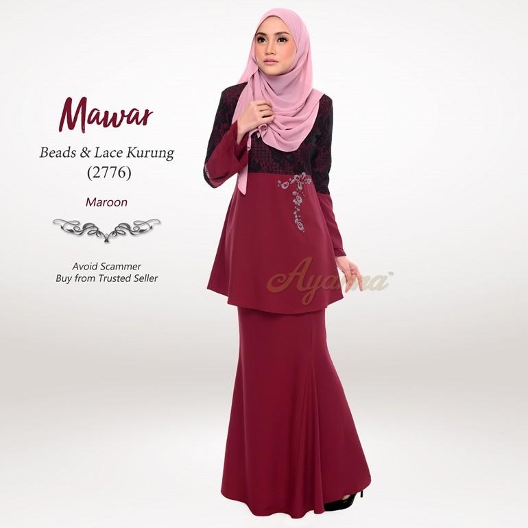 Mawar Beads & Lace Kurung 2776 (Maroon)