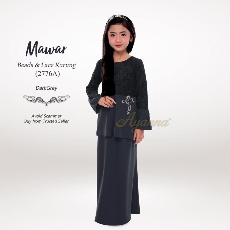 Mawar Beads & Lace Kurung 2776A (DarkGrey)
