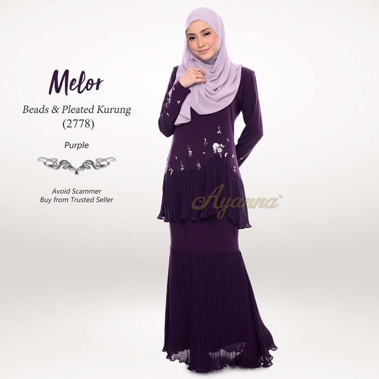 Melor Beads & Pleated Kurung 2778 (Purple)