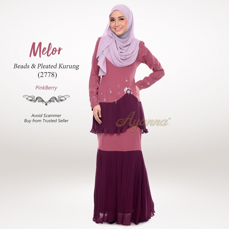 Melor Beads & Pleated Kurung 2778 (PinkBerry)