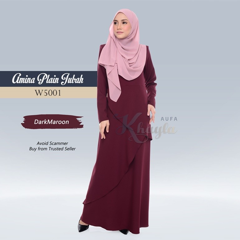 Amina Plain Jubah W5001 (DarkMaroon)