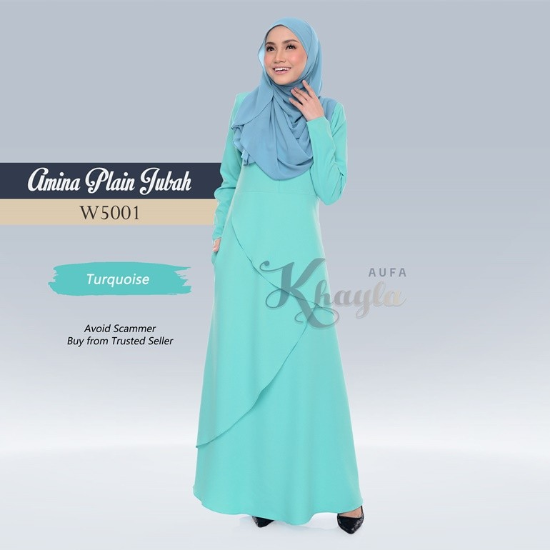 Amina Plain Jubah W5001 (Turquoise)