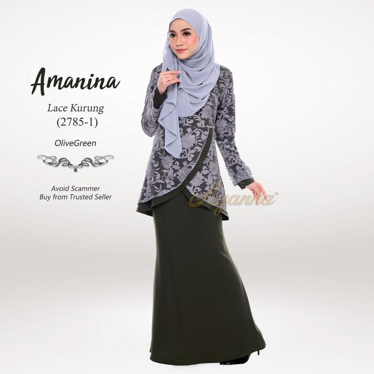 Amanina Lace Kurung 2785-1 (OliveGreen)