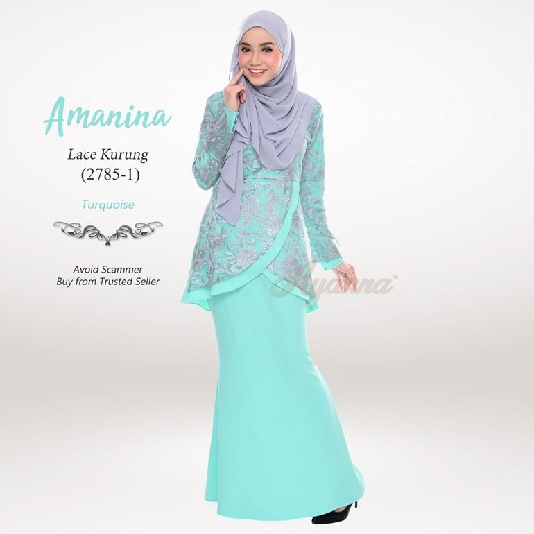 Amanina Lace Kurung 2785 1 Turquoise