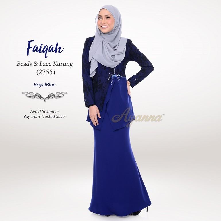 Faiqah Beads & Lace Kurung 2755 (RoyalBlue)
