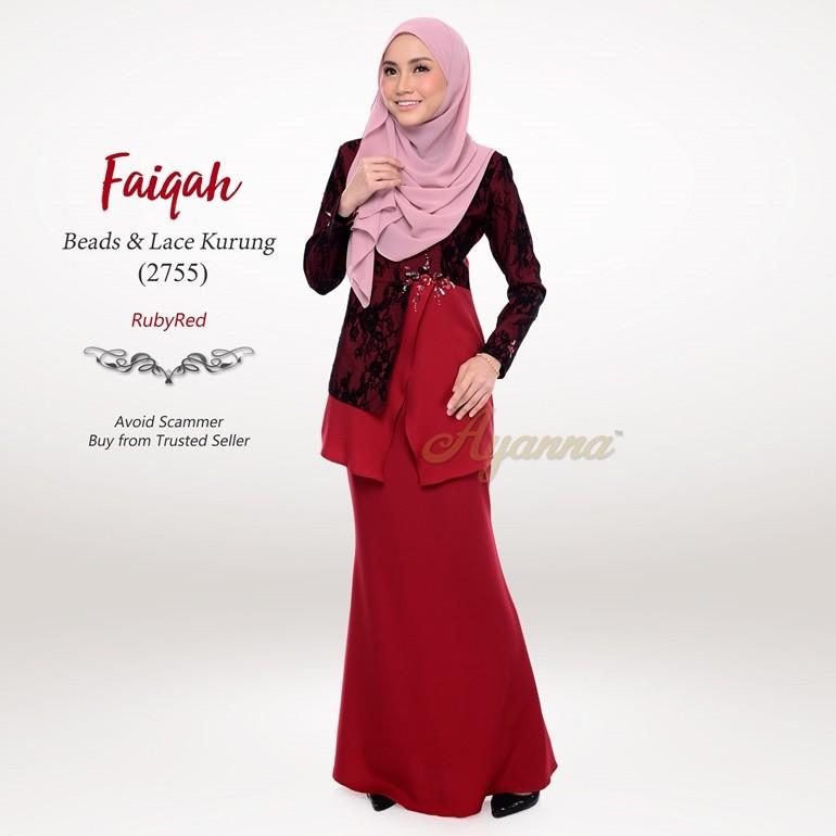 Faiqah Beads & Lace Kurung 2755 (RubyRed)