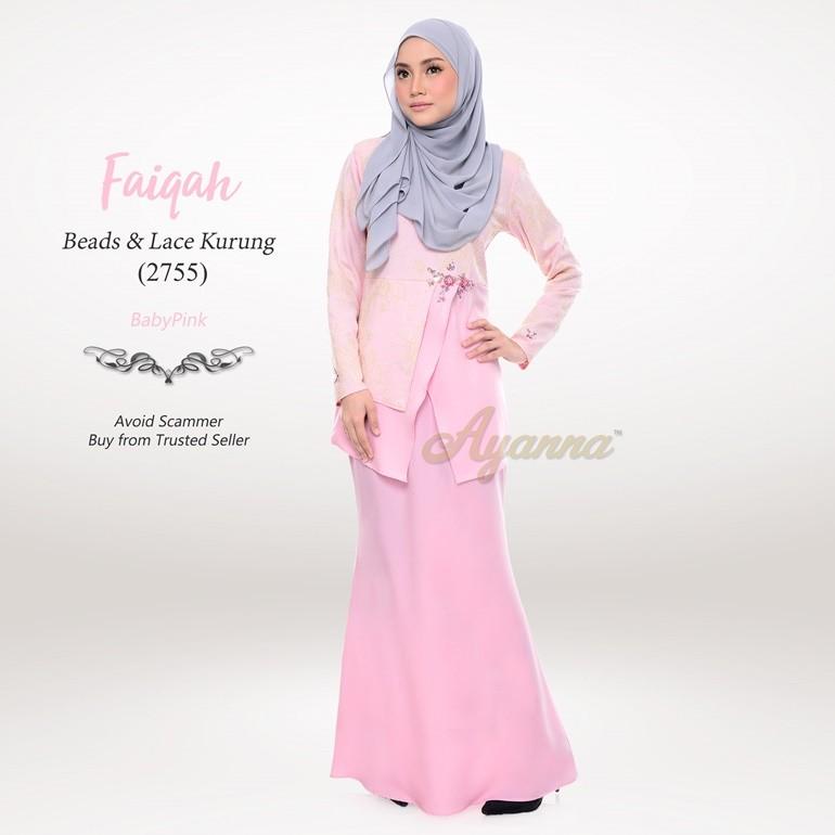 Faiqah Beads & Lace Kurung 2755 (BabyPink)
