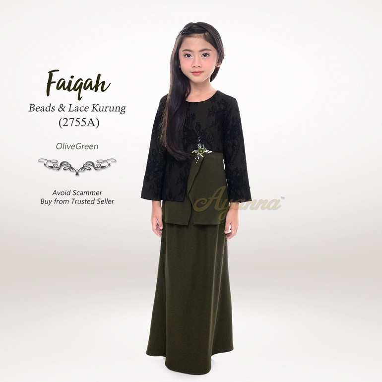 Faiqah Beads & Lace Kurung 2755A (OliveGreen)