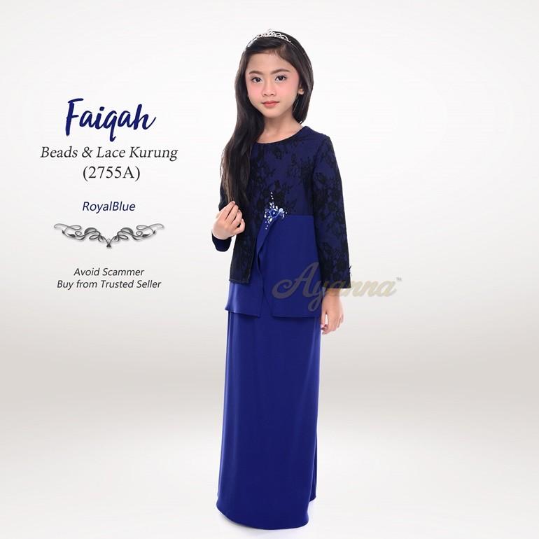 Faiqah Beads & Lace Kurung 2755A (RoyalBlue)