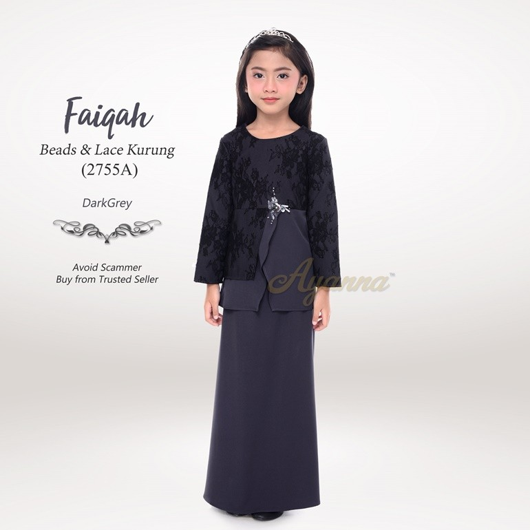 Faiqah Beads & Lace Kurung 2755A (DarkGrey)