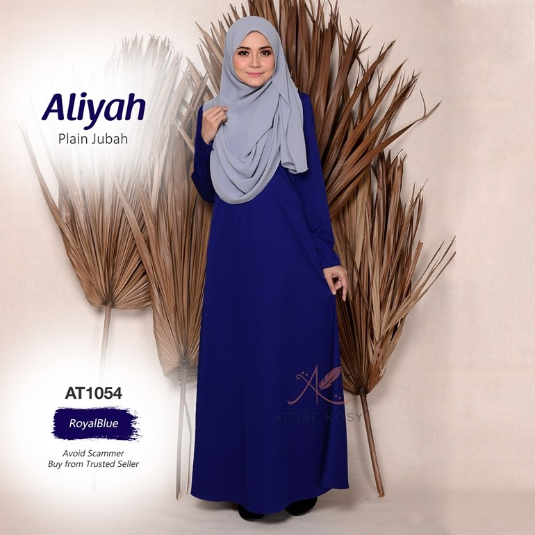 Aliyah Plain Jubah AT1054 (RoyalBlue)