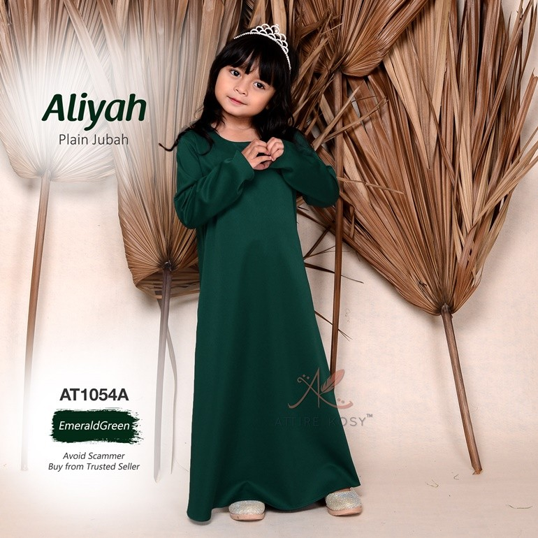 Aliyah Plain Jubah AT1054A (EmeraldGreen)