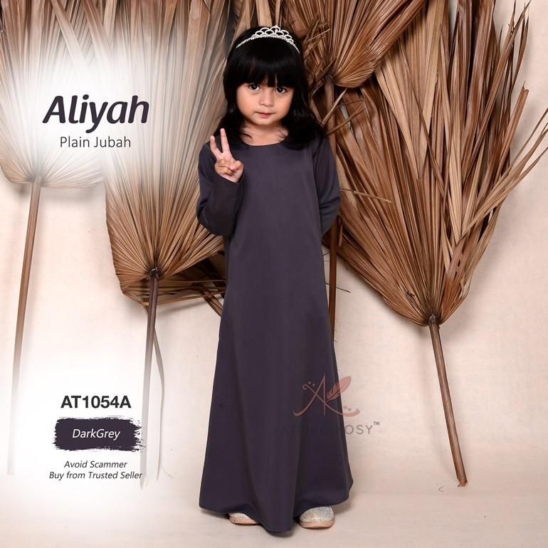 Aliyah Plain Jubah AT1054A (DarkGrey)