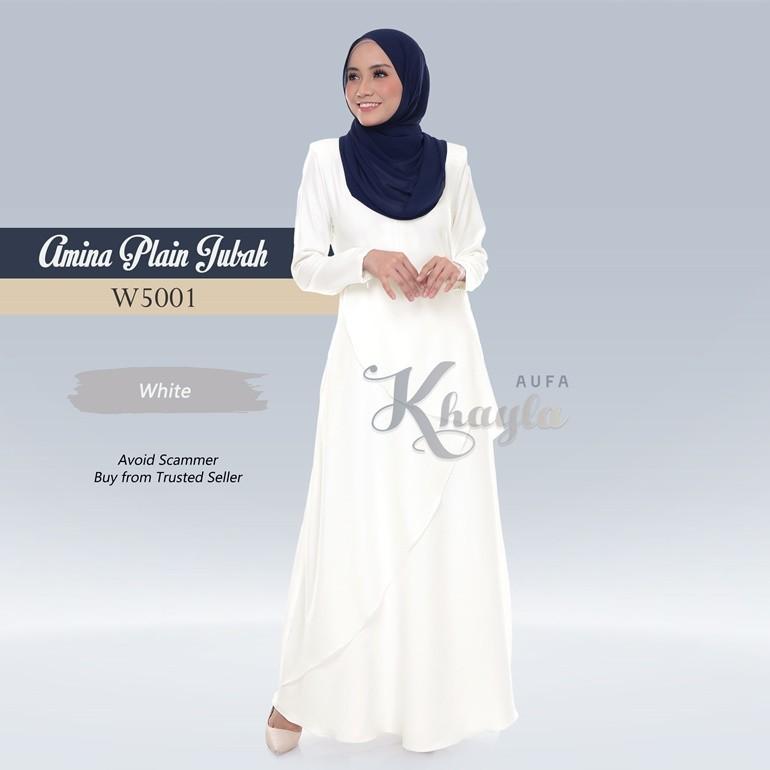 Amina Plain Jubah W5001 (White)