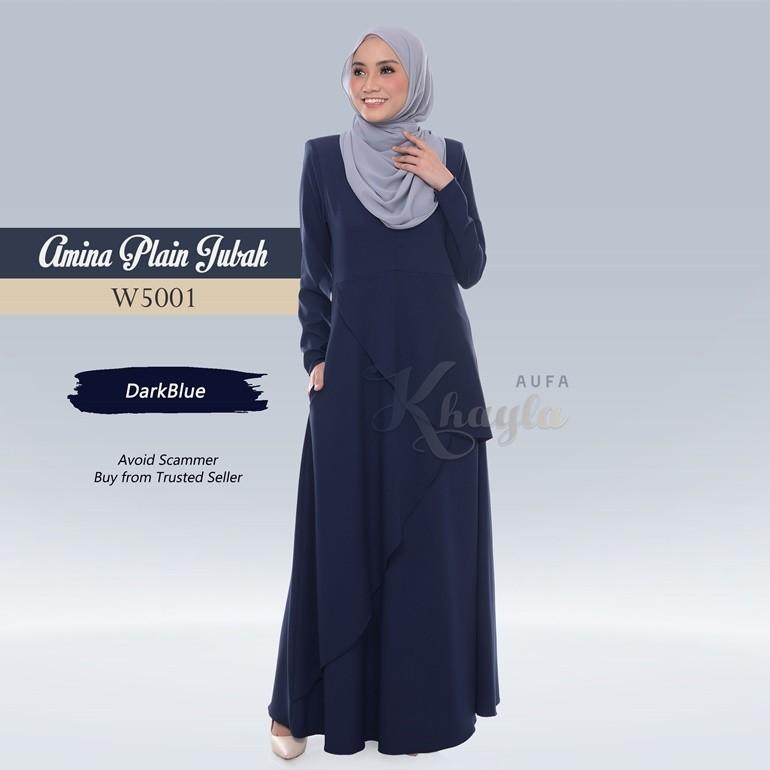 Amina Plain Jubah W5001 (DarkBlue)