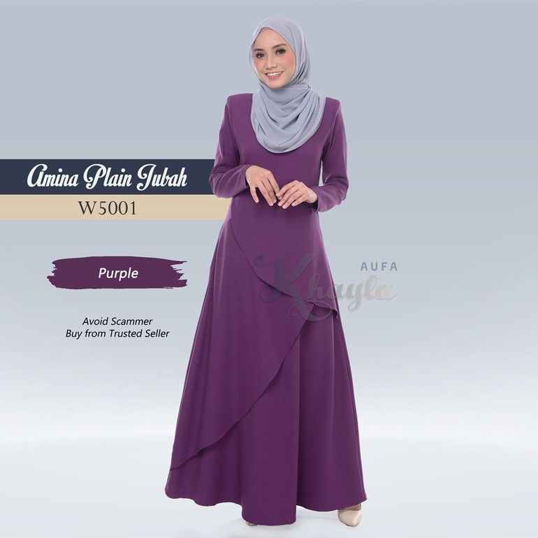 Amina Plain Jubah W5001 (Purple)