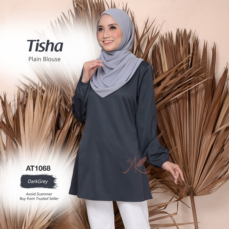 Tisha Plain Blouse AT1068 (DarkGrey)
