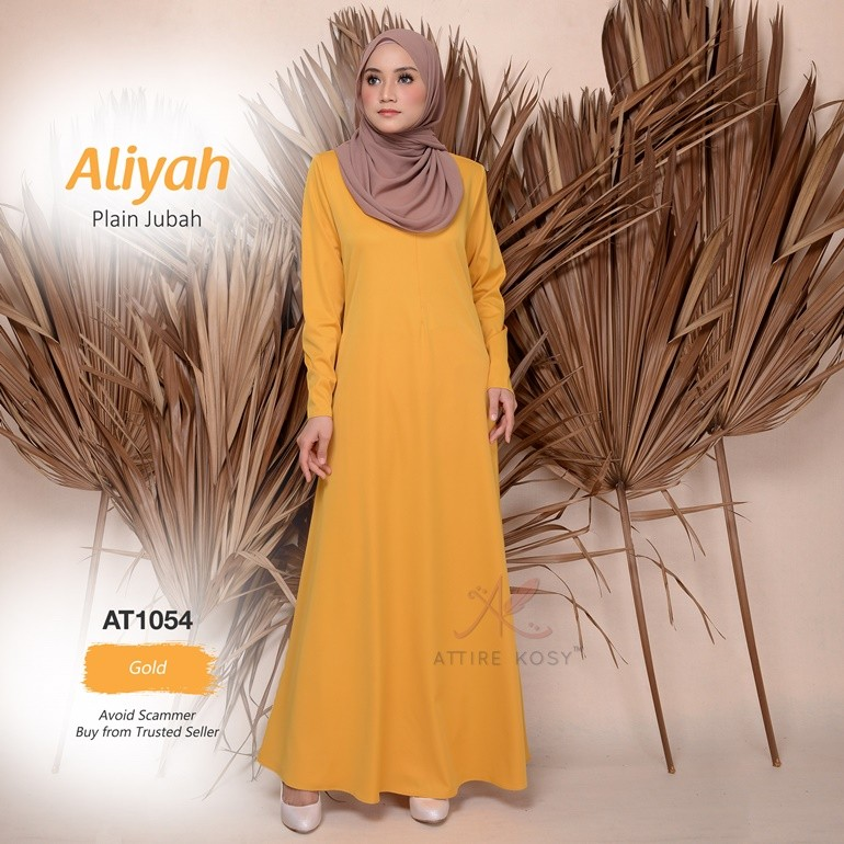 Aliyah Plain Jubah AT1054 (Gold)