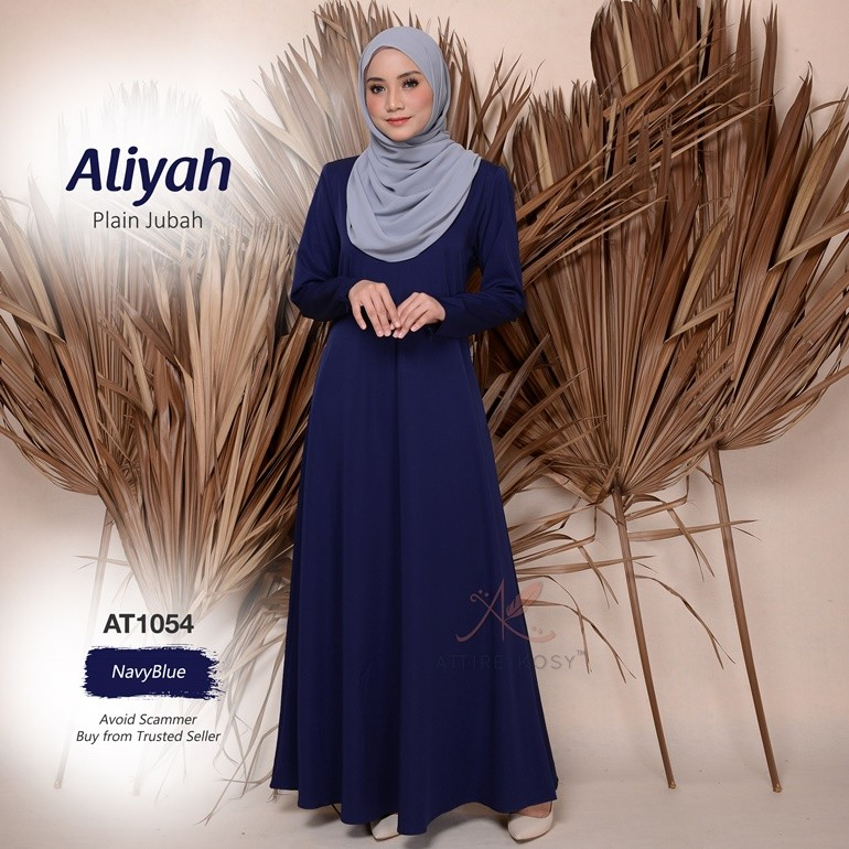 Aliyah Plain Jubah AT1054 (NavyBlue)
