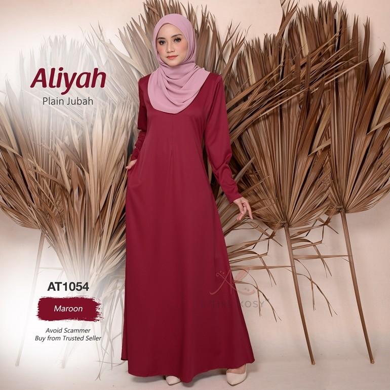 Aliyah Plain Jubah AT1054 (Maroon)