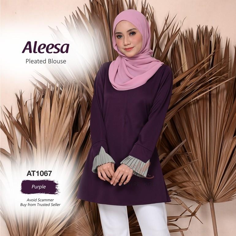 Aleesa Pleated Blouse AT1067 (Purple)