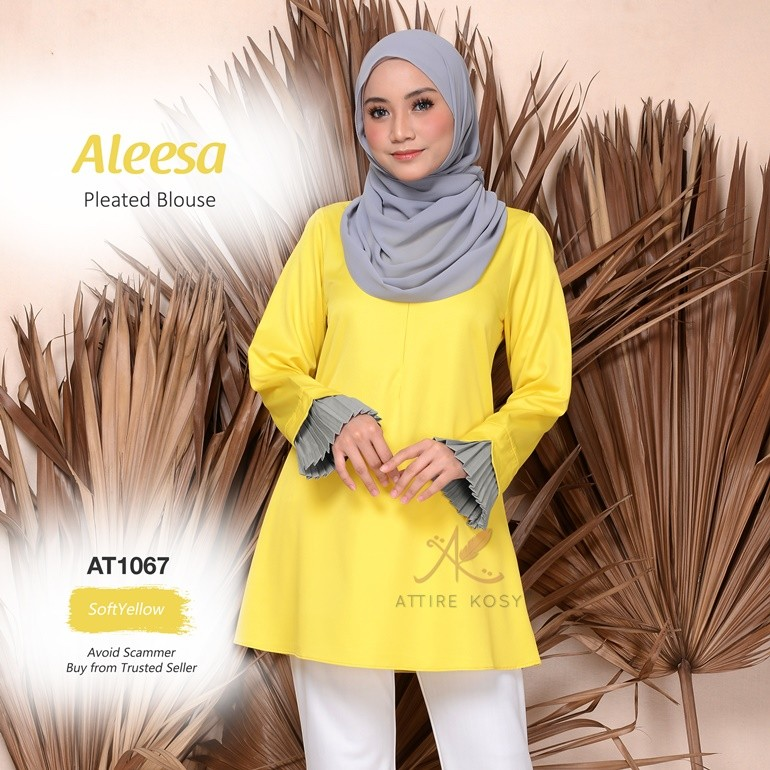 Aleesa Pleated Blouse AT1067 (SoftYellow)